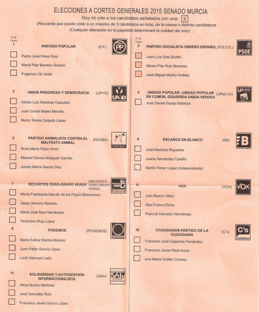 Papeleta voto senado